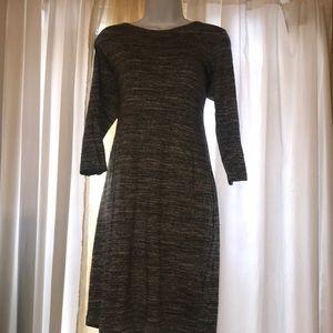 H&M large scoop neck long sleeve midi dress